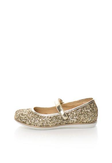 Pantofi Mary Jane aurii stralucitori de la Zee Lane Kids