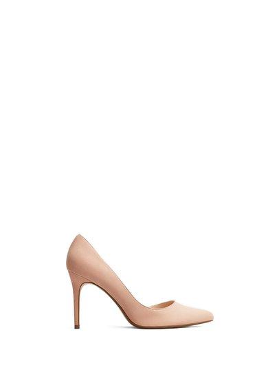 Pantofi d'Orsay bej de piele intoarsa sintetica Audrey de la MANGO