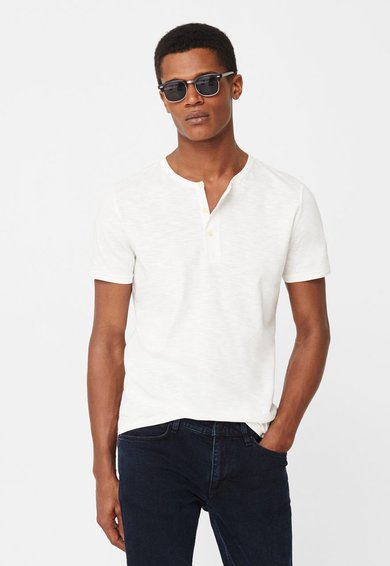 FashionDays.ro: Tricou alb cu fenta cu nasturi Julian MANGO