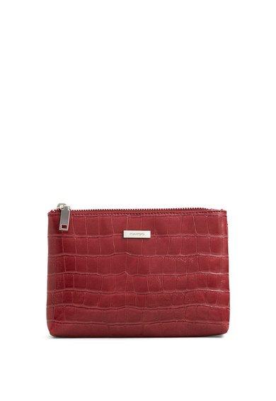 FashionDays.ro: Geanta rosu inchis pentru cosmetice cu model reptila Croco MANGO