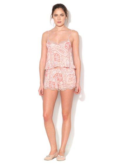 Pijama roz piersica si corai cu imprimeu Easy Love de la Skiny
