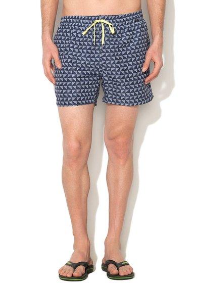 Pantaloni scurti de baie bleumarin cu mozaic Beachbar