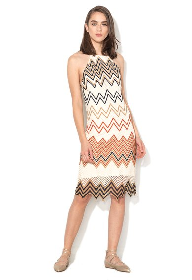 Silvian Heach Collection Rochie multicolora crosetata cu model in zigzag Naturno