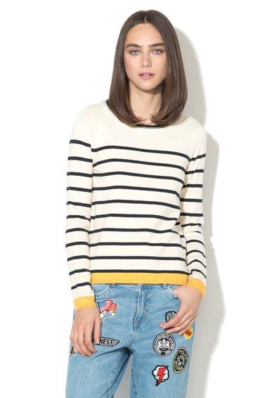 FashionDays.ro: Pulover alb si bleumarin inchis cu detaliu galben Alice Only