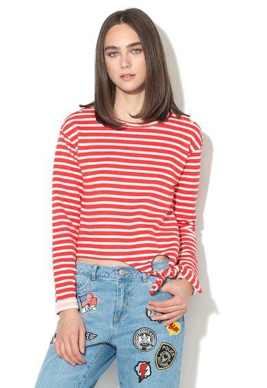 Only Bluza rosu cu alb in dungi cu nasturi decorativi Amy