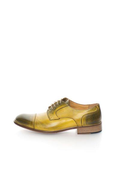Pantofi galben cu kaki in degrade de piele Derby de la Zee Lane Collection