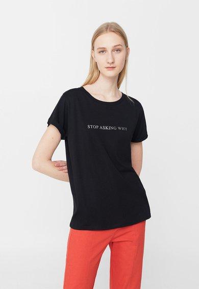 FashionDays.ro: Tricou negru cu imprimeu text frontal Life MANGO