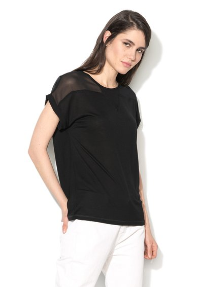 Sisley Bluza neagra cu segment transparent