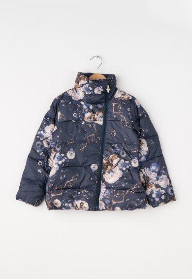 Jacheta bleumarin cu umplutura de puf si imprimeu floral de la GUESS JEANS