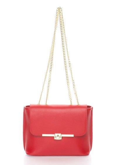 FashionDays.ro: Geanta rosie de piele cu bareta lant Zee Lane