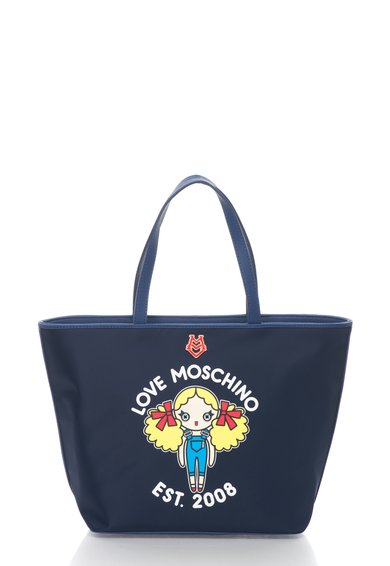 FashionDays.ro: Geanta shopper bleumarin cu imprimeu Love Moschino