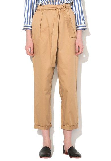 FashionDays.ro: Pantaloni crop maro camel cu cordon Sol Marella