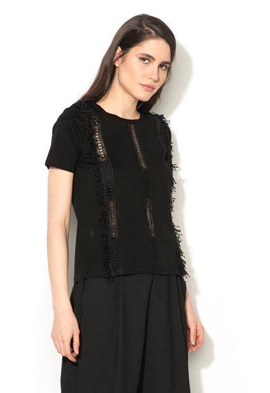 Silvian Heach Collection Top negru cu insertii crosetate Castiglione