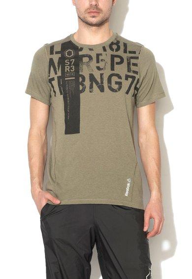 Reebok Tricou slim fit verde militar pentru antrenament