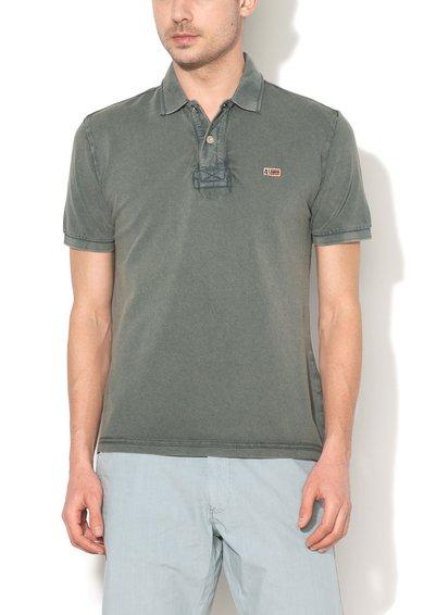Napapijri Tricou polo verde camuflaj melange Taly New