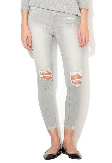 New Look Jeansi skinny gri deschis cu aspect deteriorat