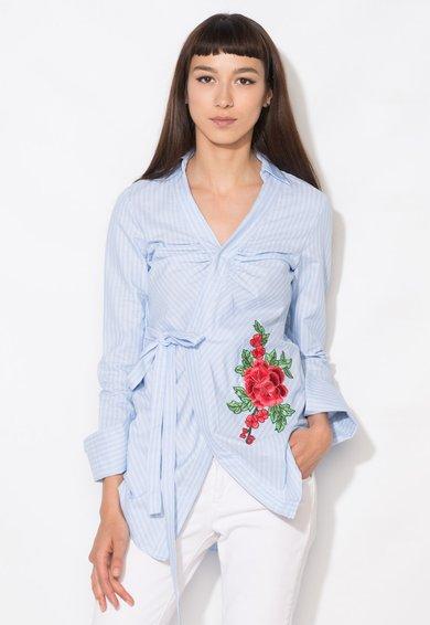 Zee Lane Denim Camasa bleu in dungi cu broderie florala