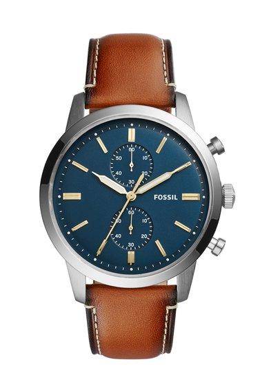 FashionDays.ro: Ceas cronograf argintiu cu o curea maro de piele Fossil