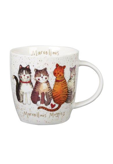 Churchill Cana alba cu pete decorative si pisici Alex Clark Squash