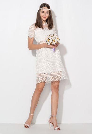 FashionDays.ro: Rochie alba din dantela crosetata cu segment din plasa Zee Lane Collection