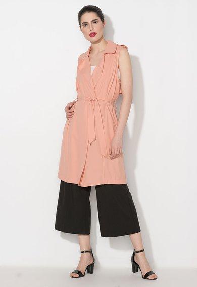 Vesta lunga roz somon cu cordon