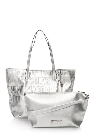 FashionDays.ro: Geanta argintie 2in1 cu model logo Repeat Steve Madden