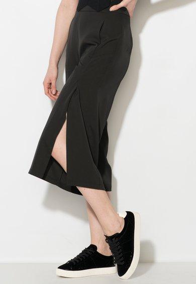 FashionDays.ro: Pantaloni culotte negri cu slituri Zee Lane Denim