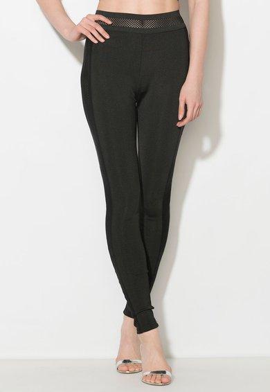 FashionDays.ro: Pantaloni elastici negri cu garnituri perforate Zee Lane Denim