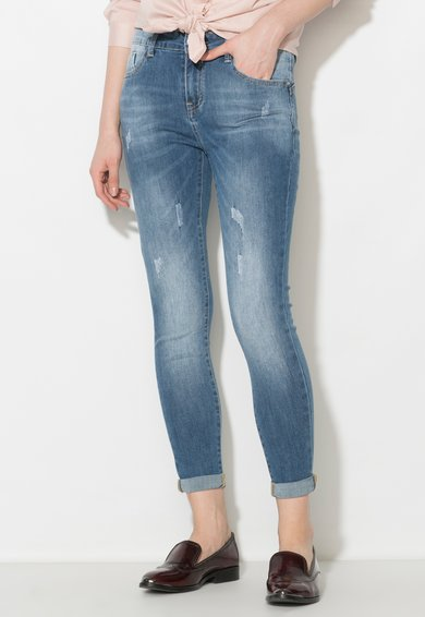 Zee Lane Denim Jeansi skinny albastri cu rupturi decorative discrete
