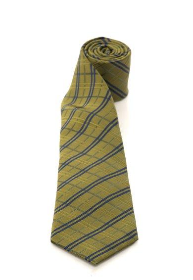 Cravata verde oliv cu bleumarin in carouri de matase