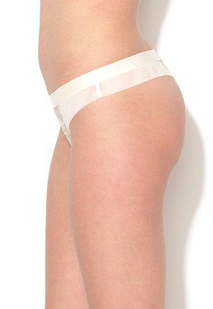 Chiloti tanga alb fildes de plasa si dantela Splendid Essenc...