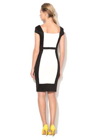 Rochie cambrata negru cu alb