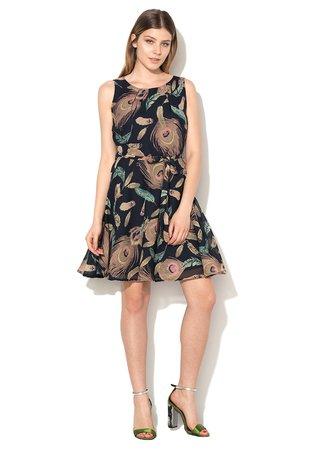Rochie multicolora de sifon cu imprimeu