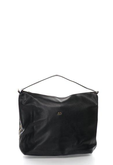 Geanta hobo neagra cu detalii metalice rotunde