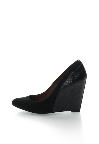 Pantofi wedge negri din piele Cooper
